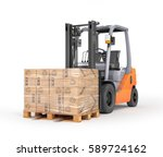 forklift with boxes in a pallet.... | Shutterstock . vector #589724162