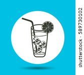 cold drink with ice cubes icon. ... | Shutterstock .eps vector #589730102