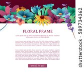 banner with floral decor.... | Shutterstock .eps vector #589734362