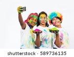 three indian adorable kids... | Shutterstock . vector #589736135
