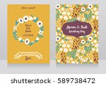 two wedding cards in folkloric... | Shutterstock .eps vector #589738472