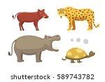 african animals cartoon vector... | Shutterstock .eps vector #589743782