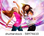 Two Young Girls Dancing In...
