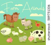cartoon cute farm animals and... | Shutterstock .eps vector #589751336