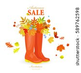 autumn greeting card with... | Shutterstock .eps vector #589762598