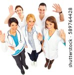 group of medical workers say... | Shutterstock . vector #589764428
