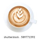 top view of hot coffee latte... | Shutterstock . vector #589771592