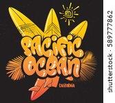 summer tropical surf print... | Shutterstock .eps vector #589777862