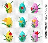 set of nine easter eggs on a...   Shutterstock .eps vector #589778042