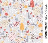 vector seamless mushroom pattern | Shutterstock .eps vector #589778966