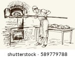 baker introducing bread in a... | Shutterstock .eps vector #589779788