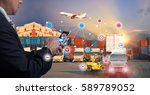 businessman is pressing button... | Shutterstock . vector #589789052