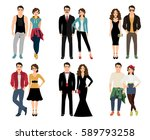 casual vogue couple vector... | Shutterstock .eps vector #589793258