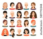 woman avatar set vector... | Shutterstock .eps vector #589793348