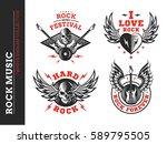 rock music festival logo ... | Shutterstock .eps vector #589795505