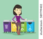 asian woman throwing away... | Shutterstock .eps vector #589799402