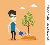 asian friendly man watering... | Shutterstock .eps vector #589799462