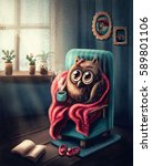little owl sitting in the chair ... | Shutterstock . vector #589801106