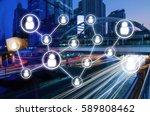 double exposure of man crossing ... | Shutterstock . vector #589808462
