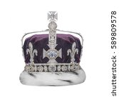 royal crown with jewels... | Shutterstock . vector #589809578