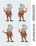 set of professor characters... | Shutterstock .eps vector #589810055