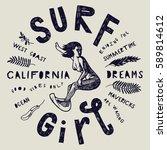 surf girl vintage grunge...   Shutterstock .eps vector #589814612