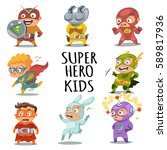 cute superhero kids in colorful ... | Shutterstock .eps vector #589817936