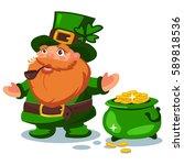 leprechaun in green hat with... | Shutterstock .eps vector #589818536