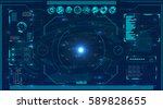 radar screen. vector... | Shutterstock .eps vector #589828655