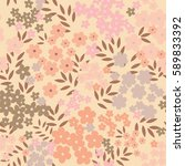 flowers and leaves  pink... | Shutterstock . vector #589833392