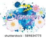 background with watercolor and... | Shutterstock .eps vector #589834775