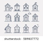 Set Of Beach Hut Icons  Flat...
