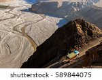 the truck carries cargo in the... | Shutterstock . vector #589844075
