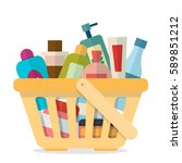 shopping basket with tubes and... | Shutterstock .eps vector #589851212