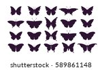 set of butterflies  ink... | Shutterstock .eps vector #589861148