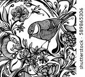 graphic bird in the garden.... | Shutterstock .eps vector #589865306