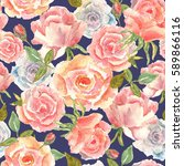 floral seamless pattern with... | Shutterstock . vector #589866116