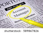 Small photo of Account manager - Newspaper sheet with ads and job search, circled with yellow marker