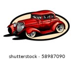 red hot rod hand drawn. | Shutterstock .eps vector #58987090