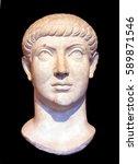 head of roman emperor... | Shutterstock . vector #589871546