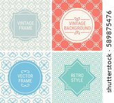 set of vintage frames in grey ... | Shutterstock .eps vector #589875476