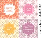 set of vintage frames in orange ... | Shutterstock .eps vector #589875836