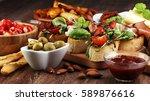 italian antipasti wine snacks... | Shutterstock . vector #589876616
