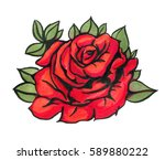 red watercolor  roses  isolated ... | Shutterstock . vector #589880222