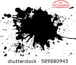 abstract black ink splash... | Shutterstock .eps vector #589880945