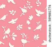 seamless pattern with bird and... | Shutterstock .eps vector #589881776