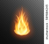 realistic burning fire flame ... | Shutterstock .eps vector #589884245