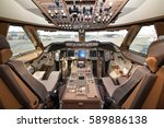 flight deck of civil wide body... | Shutterstock . vector #589886138