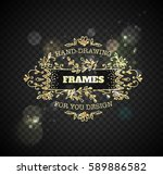 gold frame with flowers on... | Shutterstock .eps vector #589886582