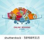online booking flat concept.... | Shutterstock .eps vector #589889315
